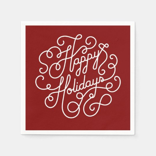 Stylish Happy Holiday Red And White Paper Napkin