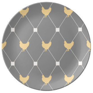 Stylish Harlequin Chicken Pattern Plate