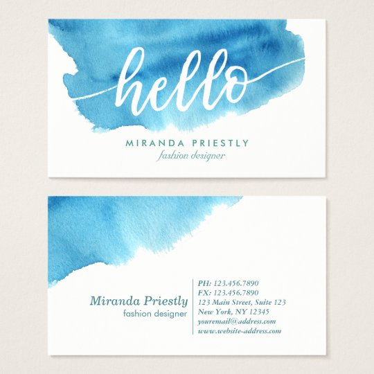 Stylish Hello Typography Elegant Blue Watercolor Business Card