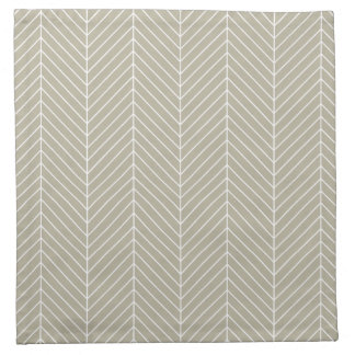 Stylish Herringbone Chevrons Pattern in Beige Napkin