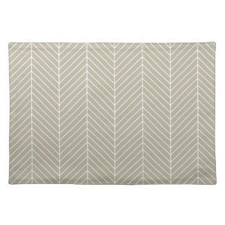 Stylish Herringbone Chevrons Pattern in Beige Placemat