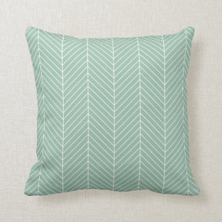 Stylish Herringbone Chevrons Pattern in Green Cushion