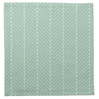 Stylish Herringbone Chevrons Pattern in Green Napkin