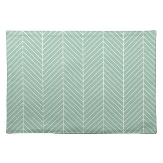 Stylish Herringbone Chevrons Pattern in Green Placemat