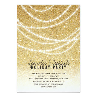 Stylish Holiday Gold Glitter Sparkles Party Invite
