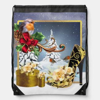 Stylish Holiday Shoe And Robin Drawstring Backpack