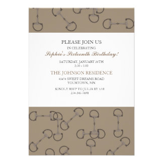 Stylish Horse Bits Birthday Party Invitation
