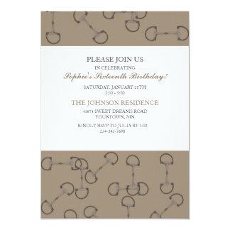 "Stylish Horse Bits Birthday Party Invitation 5"" X 7"" Invitation Card"
