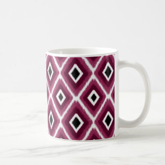 Stylish Hot Pink Black Ikat Pattern Basic White Mug