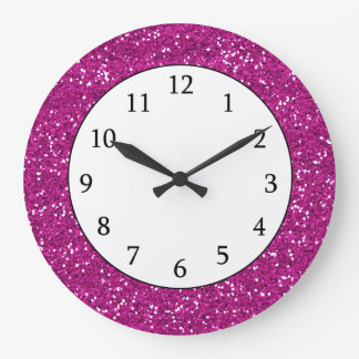 Stylish Hot Pink Glitter Clocks