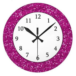 Stylish Hot Pink Glitter Large Clock