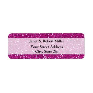 Stylish Hot Pink Glitter Return Address Label