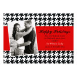 Stylish Houndstooth Holiday Card Personalized Invite