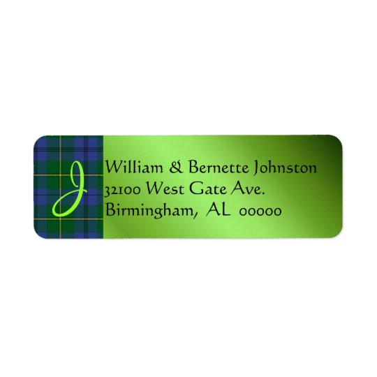 Stylish Johnston Plaid Monogram Custom Labels