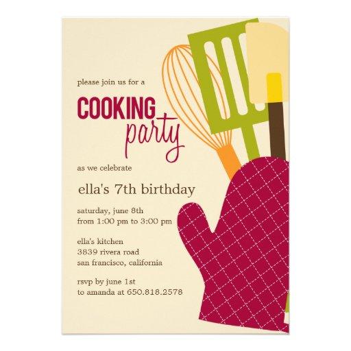 Stylish Kitchen Cooking Party Invitations Custom Invite