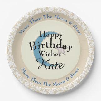 Stylish-Lace-Blue-Moon-Star-Monogram-Birthday Paper Plate