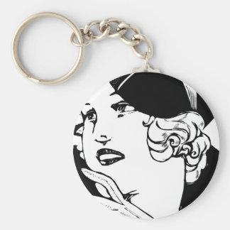 Stylish Lady Basic Round Button Key Ring