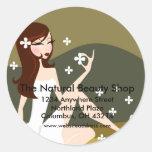 Stylish Lady - Return Address Labels Round Stickers