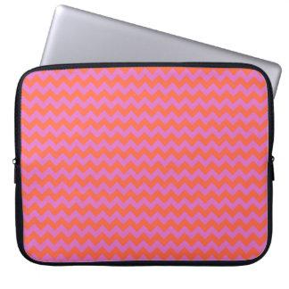 Stylish Laptop Sleeve, Orange and Magenta Chevrons Laptop Sleeve