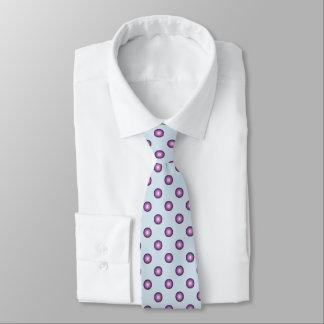 Stylish Lavender Polka Dot & Light Blue Background Tie