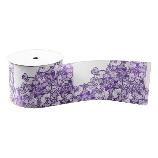 Stylish lavender purple watercolor floral lace grosgrain ribbon