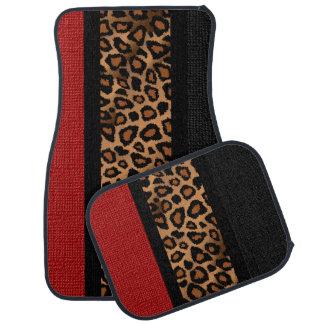 Stylish Leopard Animal Print Pattern   Dark Red Car Mat