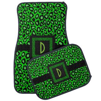 Stylish Leopard Animal Print Pattern   Lime Green Car Mat