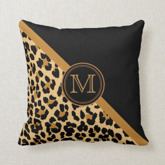 Stylish Leopard Print Custom Monogram Cushion