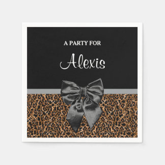 Stylish Leopard Print Elegant Black Bow and Name Paper Napkins