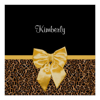 Stylish Leopard Print Elegant Yellow Bow and Name