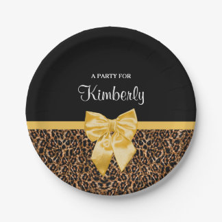 Stylish Leopard Print Elegant Yellow Bow and Name Paper Plate