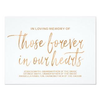 Stylish Lettered Gold Rose Custom Memorial Sign Card