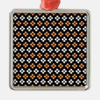 Stylish Light Orange & White Argyle Pattern Christmas Ornament