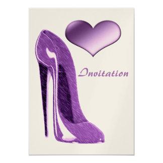 Stylish Lilac Stiletto Shoe and Heart Invitation 13 Cm X 18 Cm Invitation Card