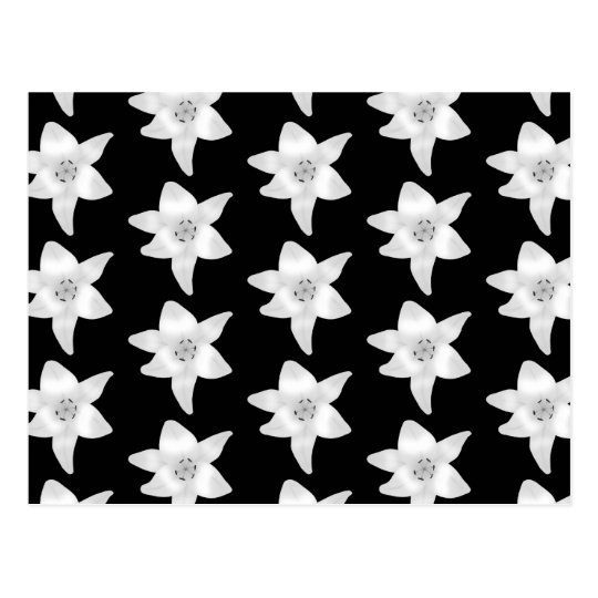 Stylish Lily Pattern in Black and White. Postcard