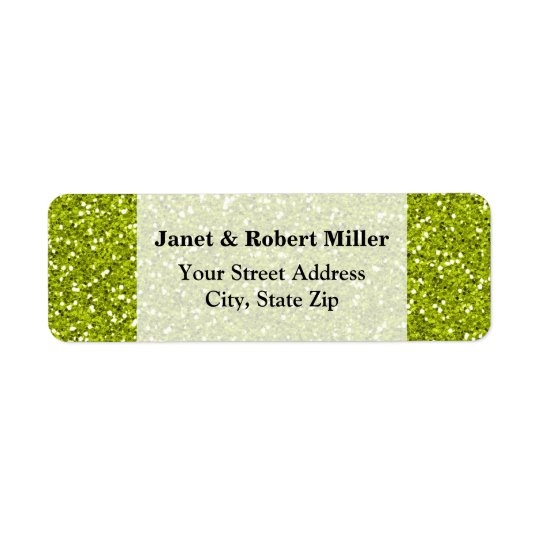 Stylish Lime Green Glitter Return Address Label
