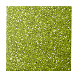 Stylish Lime Green Glitter Small Square Tile