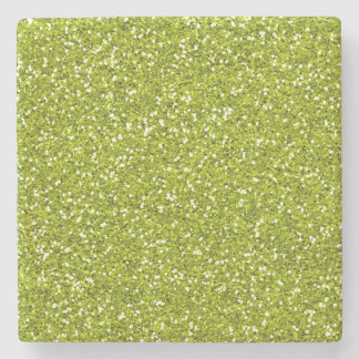 Stylish Lime Green Glitter Stone Beverage Coaster