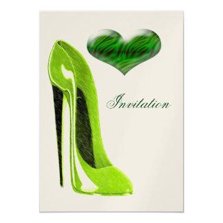 Stylish Lime Green Stiletto Shoe and Heart  Invita 13 Cm X 18 Cm Invitation Card