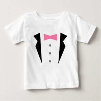Stylish Little Gentleman Tuxedo With Pink Bow Tie Baby T-Shirt