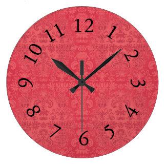 Stylish-Living-Tea-berry-Damask-Clock Large Clock