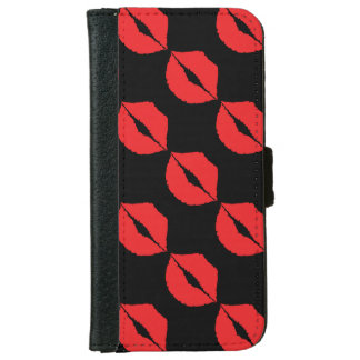 Stylish Luscious Big Red Lips Hot Kiss Mouth Lips iPhone 6 Wallet Case