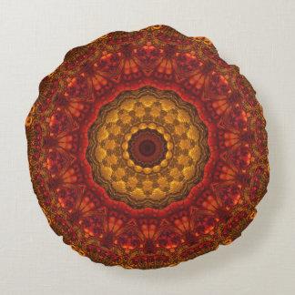 Stylish Luxury Autumn Tones Mandala Design Round Cushion
