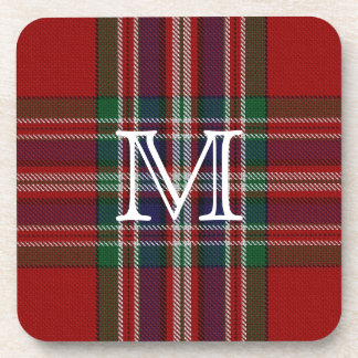Stylish MacFarlane Plaid Monogram Coaster