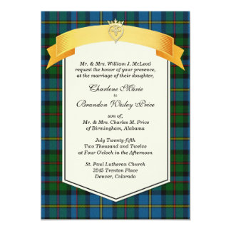 Stylish MacLeod Tartan Plaid Custom Wedding Card
