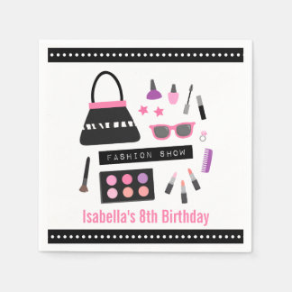 Stylish Makeup Fashion Show Birthday Party Napkins Disposable Napkin