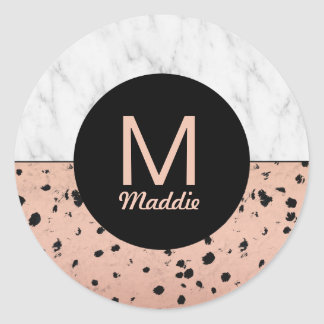 Stylish Marble and Rose Gold Pattern with Monogram Classic Round Sticker