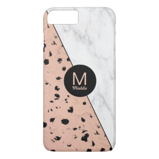 Stylish Marble and Rose Gold Pattern with Monogram iPhone 8 Plus/7 Plus Case
