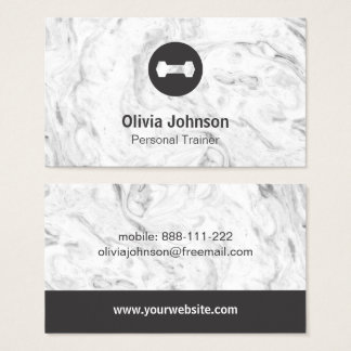 Stylish Marble Dumbbell Weights Fitness Instructor Business Card