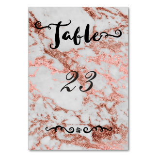 Stylish marble faux rose gold wedding collection table card